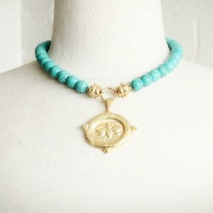 Susan Shaw Turquoise Bee Necklace24Kt Gold Plated